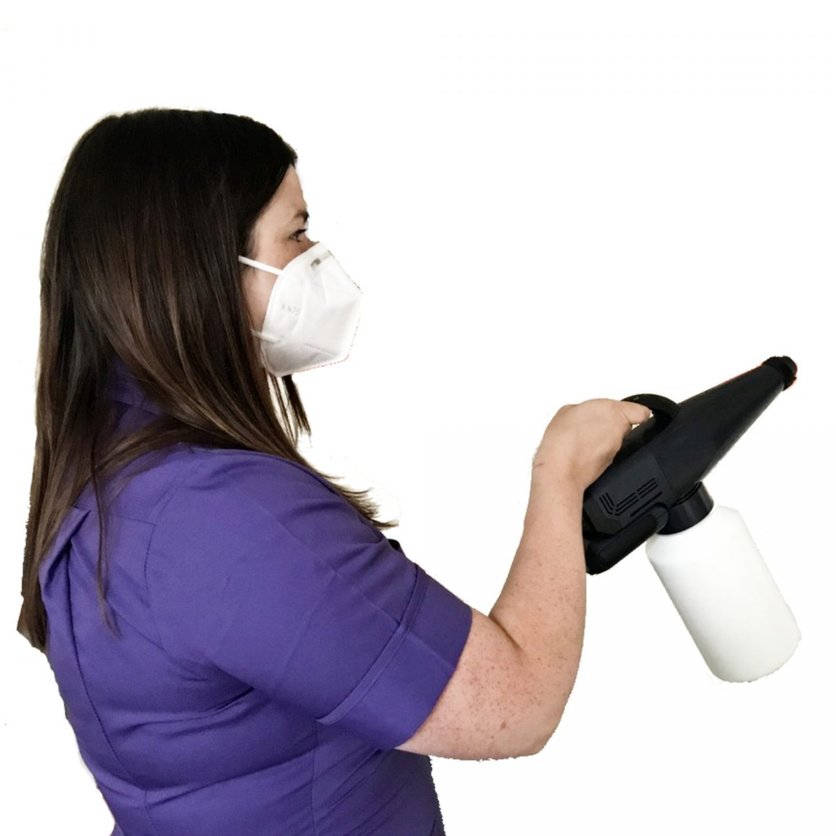 A lady using the GG 1800 Portable Fogger