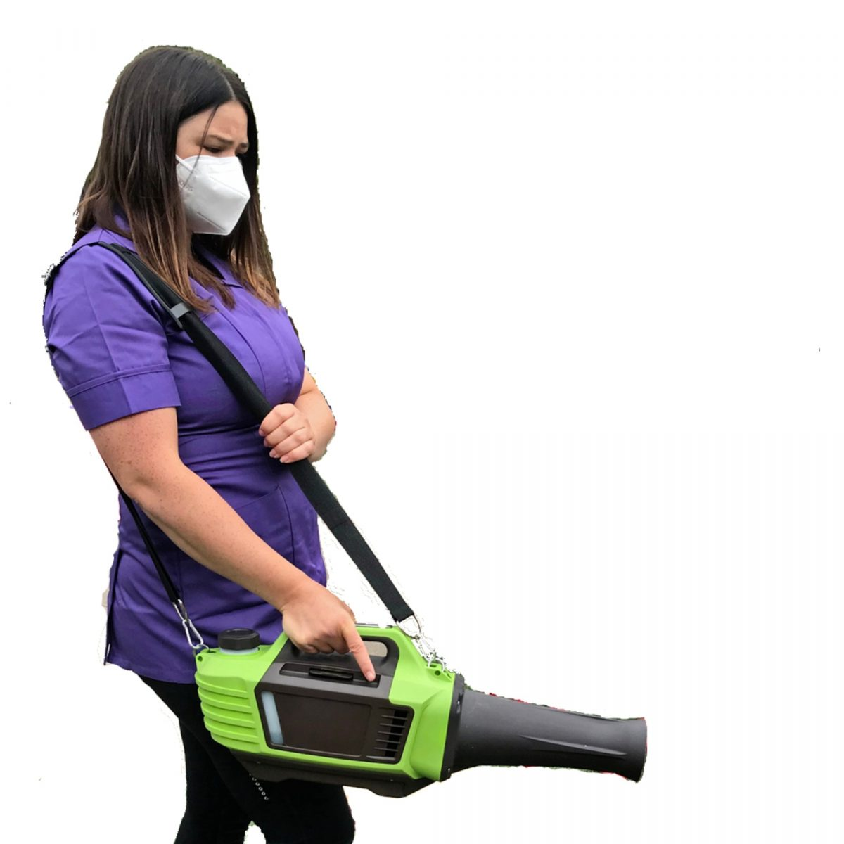 A lady using the Greengauge Travel 2000 Fogger
