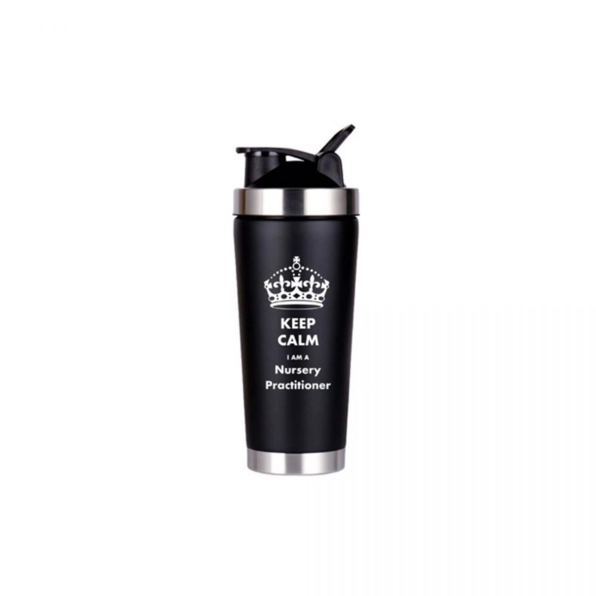 Double Walled Vacuum Flask-Black-Keep Calm I am a Nursery Practitioner