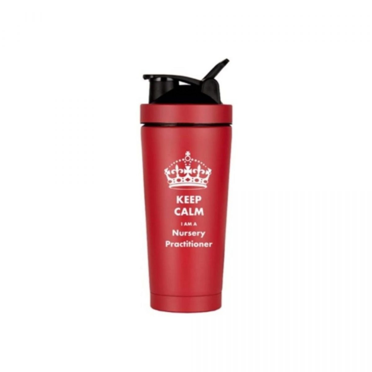 Double Walled Vacuum Flask-Red-Keep Calm I am a Nursery Practitioner