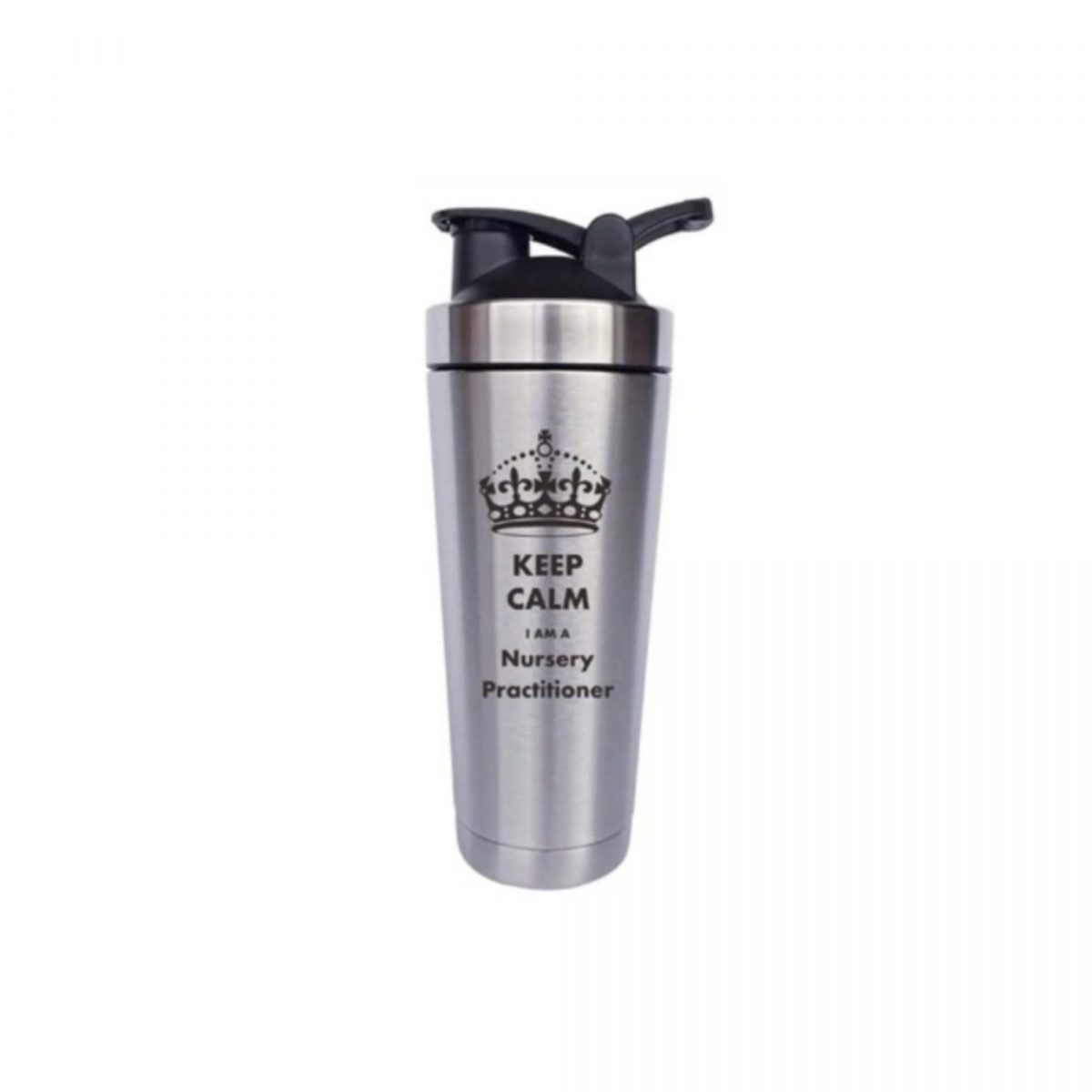 ouble Walled Vacuum Flask-Silver-Keep Calm I am a Nursery Practitioner